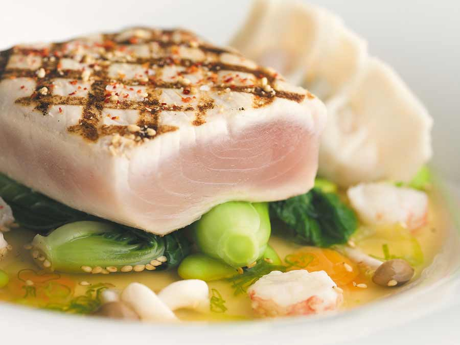 Blue Water Cafe + Raw Bar Image Gallery | Grilled Albacore Tuna